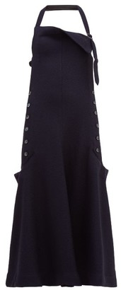 Jacquemus Tablier Halterneck Open-back Apron Dress - Womens - Navy