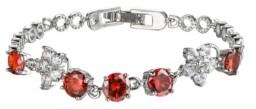A&M A & M Silver-Tone Garnet Accent Tennis Bracelet