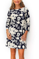 Navy & White Floral Three-Quarter Sleeve Dress