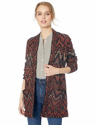 Lucky Brand Women's Long Ikat Open Front Cardigan Sweater