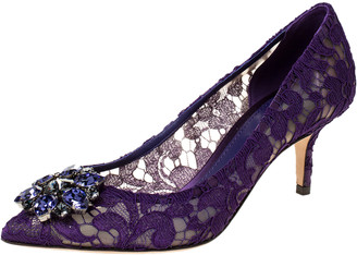 Dolce & Gabbana Purple Lace Jeweled Embellishment Pointed Toe Pumps Size 37