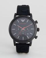 Emporio Armani Ar11024 Silicone Watch In Black