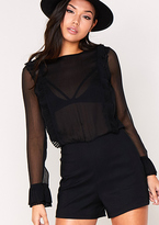 Missy Empire Saskia Black Long Sleeved Sheer Playsuit