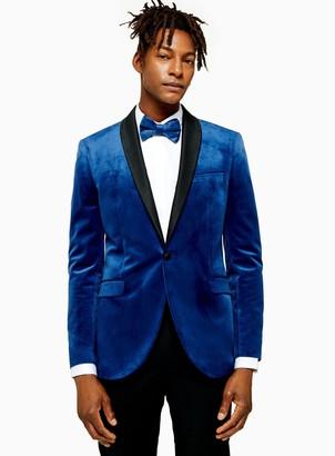 TopmanTopman Blue Skinny Fit Single Breasted Velvet Blazer With Satin Covered Shawl Lapel