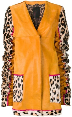 Liska Animal Printed Sleeves Coat
