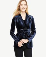 Ann Taylor Petite Belted Velvet Blazer