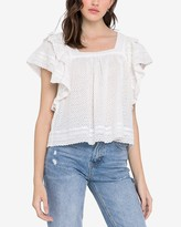 Express English Factory Square Neck Eyelet Lace Top