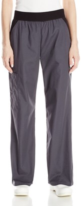 Cherokee Women's Flexibles Contrast Mid Rise Knit Waist Pull-On Pant