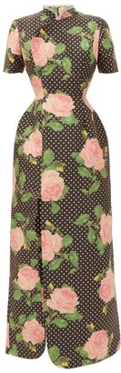 Richard Quinn Slit-hem Polka Dot Rose-print Duchess-satin Dress - Black Print