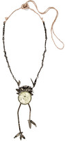 Valentino Oxidized Silver-plated Crystal Necklace - Gunmetal