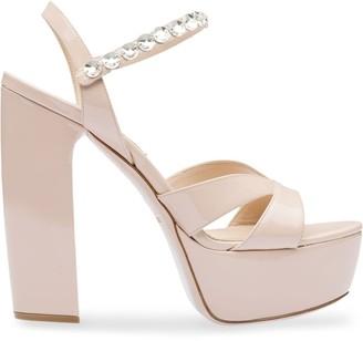 Miu Miu Platform Crystal-Embellished Sandals