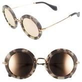 Miu Miu Women's 'Noir' 49Mm Round Sunglasses - Beige Tortoise