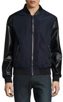 Karl Lagerfeld Faux Leather-Trimmed Bomber Jacket