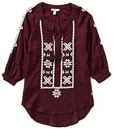 Silver Jeans Co. Big Girls 7-16 Embroidered Tassel Top