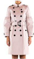 Burberry Cotton Gabardine Trench Coat With Puff Sleeve