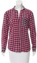 Equipment Plaid Button-Up Blouse