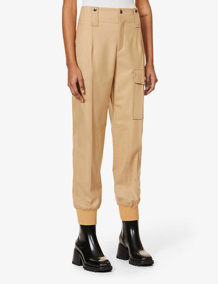 Chloé Tapered high-rise wool-blend twill trousers