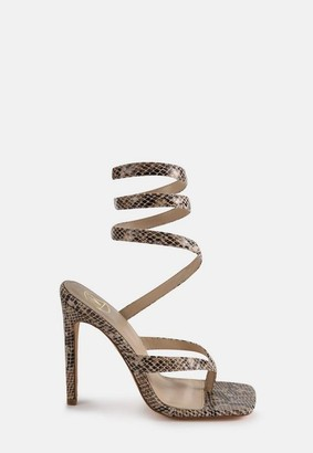 Missguided Brown Snake Print Toe Post Wrap Up Heeled Sandals