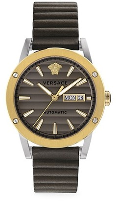 Versace Theros Automatic Textured-Striped Stainless Steel Leather Watch