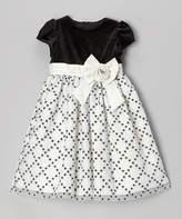 Jayne Copeland Black & White Glitter Diamond Cap-Sleeve Dress - Toddler & Girls