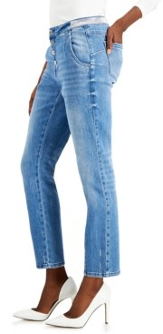 INC International Concepts Inc Embellished-Waist Straight-Leg Ankle Jeans, Created for Macy's