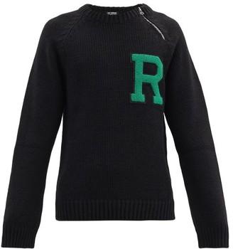 Raf Simons Logo-applique Zipped Ribbed Sweater - Black