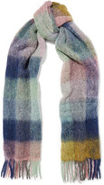 Holzweiler Fresia Fringed Checked Knitted Scarf - Blue