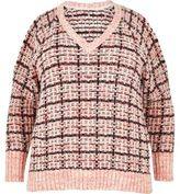 River Island Womens Plus pink checked cold shoulder sweater