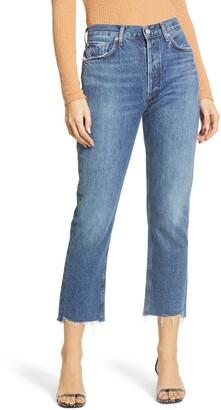 A Gold E AGOLDE Riley High Waist Fray Hem Crop Straight Leg Jeans
