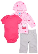 Bon Bebe Pink Heart Microfleece Jacket Set - Infant