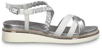 Tamaris Eda Metallic Wedge Heel Sandals with Cross-Strap