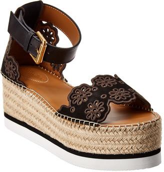 See by Chloe 50Mm Platform Leather & Suede Wedge Sandal