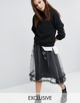 Reclaimed Vintage Sheer Sparkle Mesh Skirt With Star Patches