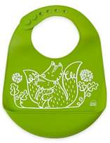Modern Twist Foxes Silicone Bib in Green