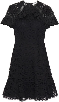 Sandro Corentin Ruffle-trimmed Broderie Anglaise Mini Dress