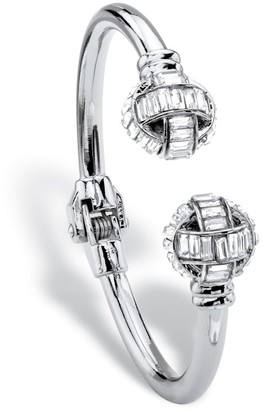"PalmBeach Jewelry Baguette-Cut White Crystal Ball Hinged Cuff Bracelet in Silvertone 8"" Bold Fashion"