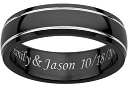 Limoges Jewelry Rings Black - Black Titanium Groove-Accent Personalized Band