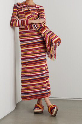 Chloe - + Net Sustain Striped Recycled Cashmere-blend Maxi Dress - Red