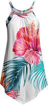 Lily Women's Tunics WHT - White & Pink Floral Leaves Ruffle-Hem Tunic - Women & Plus