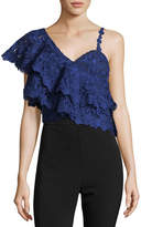 Alice + Olivia Saba One-Shoulder Lace Ruffle Crop Top