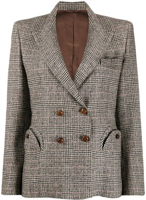 BLAZÉ MILANO Check Patterned Double-Breasted Blazer