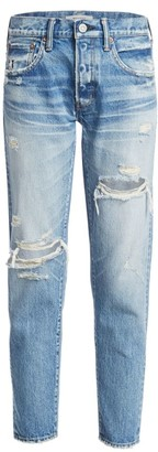 Moussy Bowie Mid-Rise Tapered Distressed Jeans