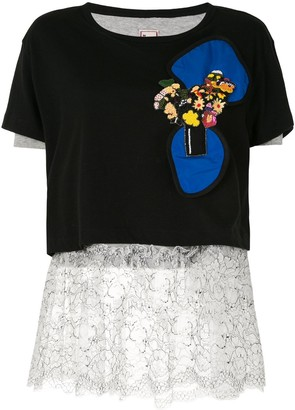 Antonio Marras embellished floral applique T-shirt