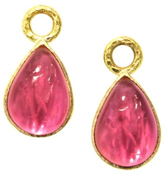 Elizabeth Locke Venetian Glass Intaglio Pink 'Small Pear Shape' Earring Pendants