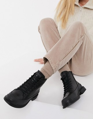 Camper Pix chunky leather lace up hiker boots in black