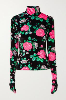 Richard Quinn Floral-print Velvet Turtleneck Top - Black