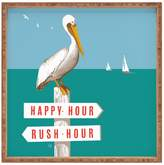 Deny Designs Pelican on Rush Hour Happy Hour Sign Large Square Tray