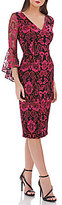 Carmen Marc Valvo Bell Sleeve Lace Sheath Dress