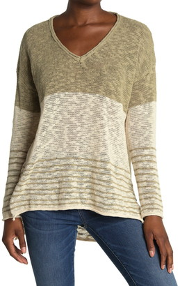 ALL IN FAVOR Colorblock Slub Knit High/Low Sweater