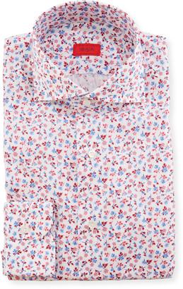 Isaia Men's Mini Floral Dress Shirt